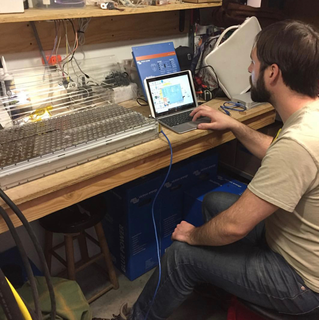 Mitchell testing a Tesla battery pack for possible RV applications