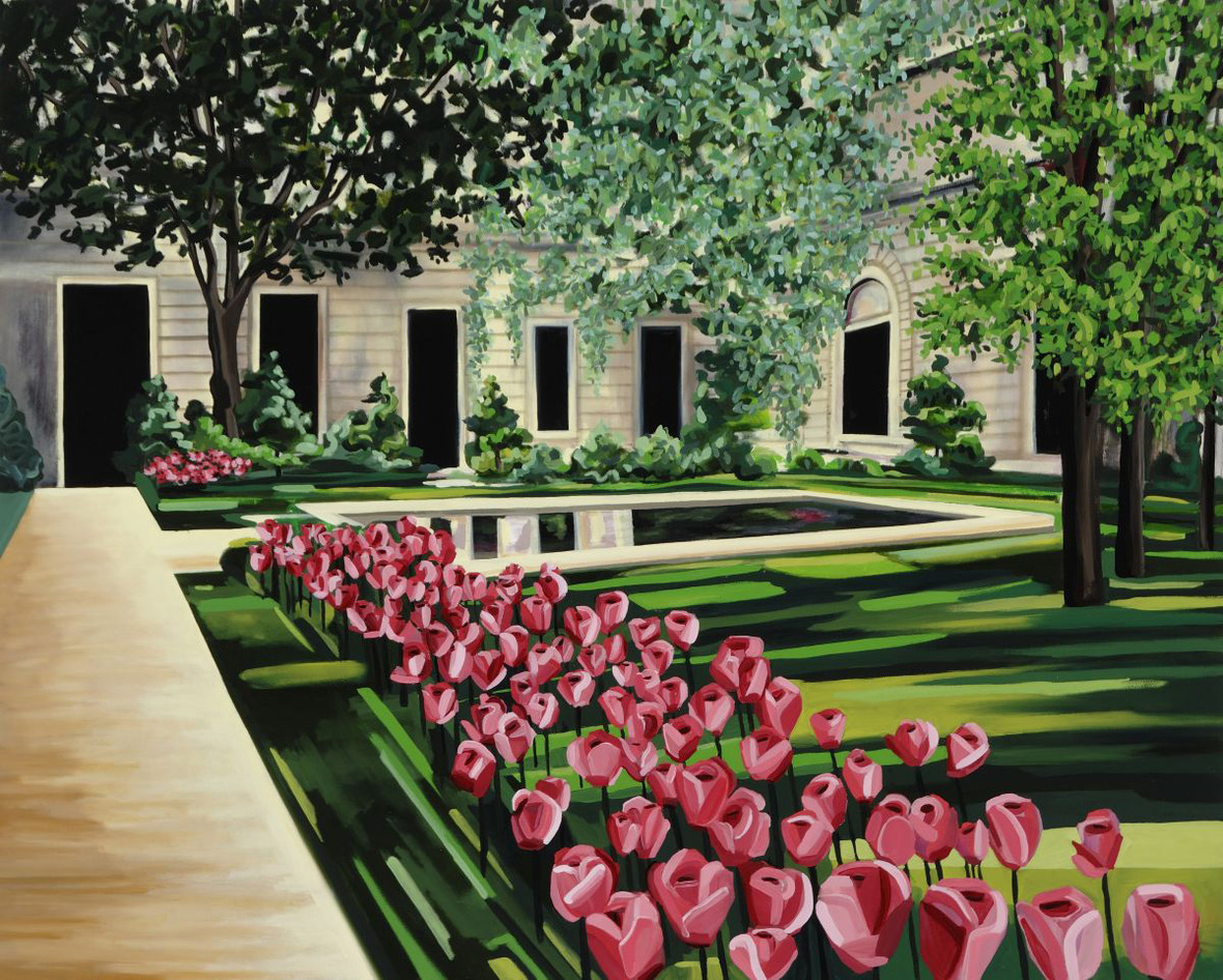 "Frick Garden, 48"" x 60"", Oil on Canvas"