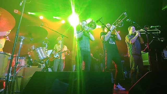 Great pic at The Broadberry last week from @livemusicisthebest - Playing tomorrow night (July 16) at The HofGarden - Trombones Abound