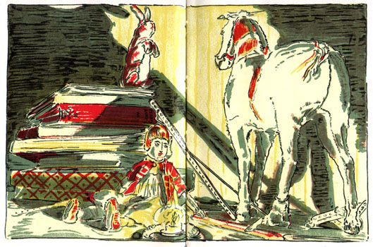 """The Skin Horse Tells His Story"" Illustration by William Nicholson Excerpted from ""The Velveteen Rabbit"" or ""HOW TOYS BECOME REAL"" by Margery Williams. Many thanks to The University of Pennsylvania and "" A celebration of Women Writers "" for making  this beautiful work  available online."
