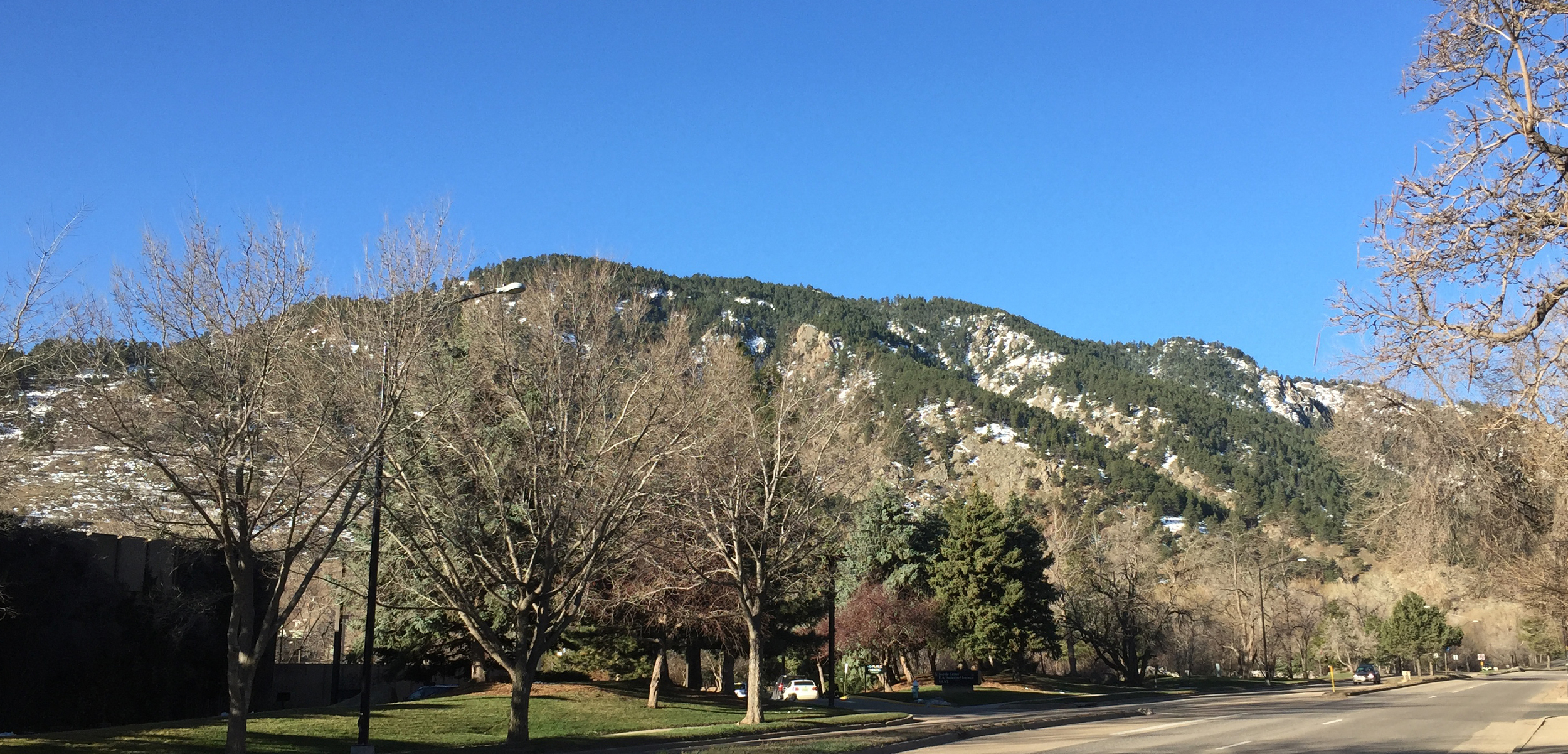 Bright morning sunshine against the Rockies in Boulder, Colorado April 1, 2016