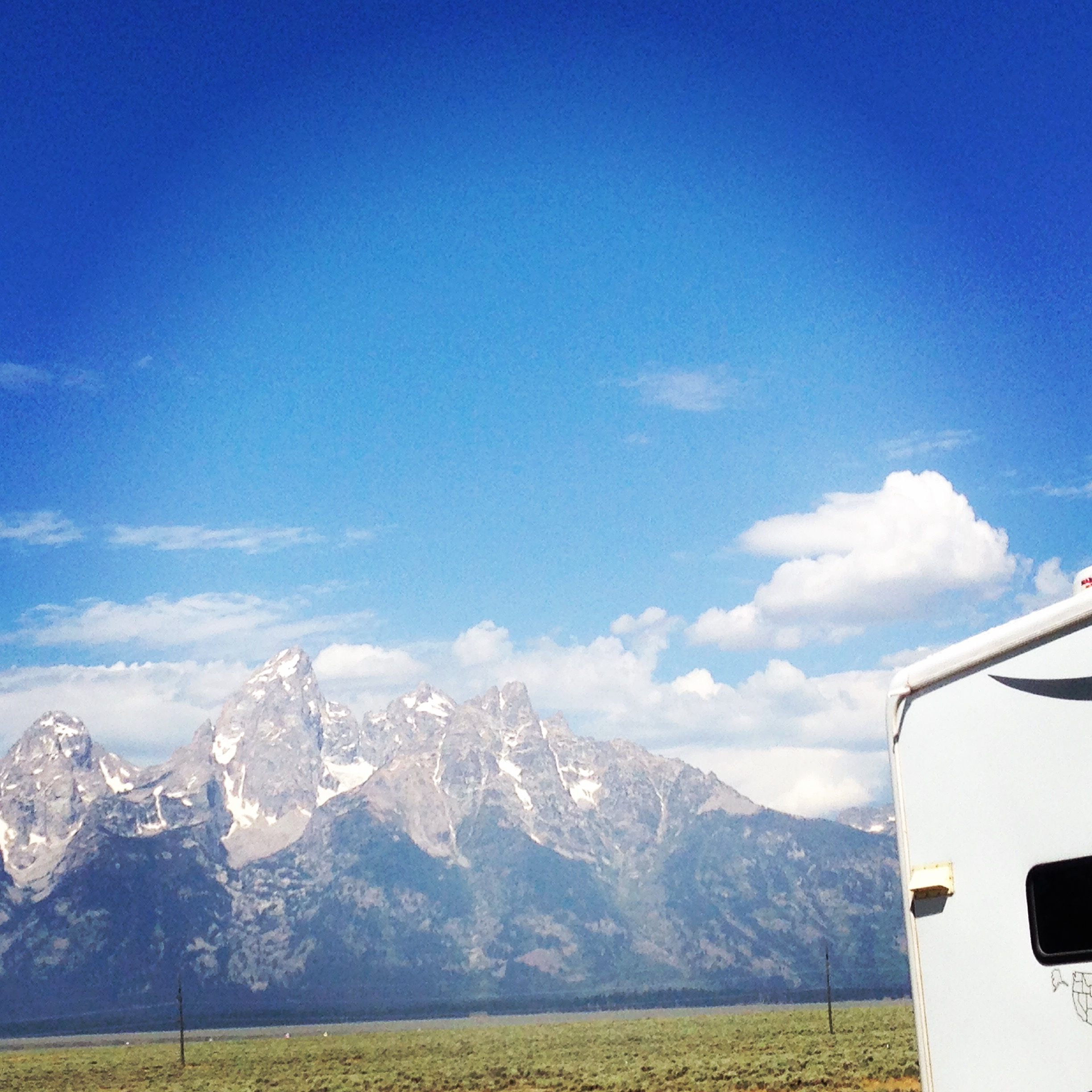 the Teton Range. That big beautiful teton in the middle is the Grand Teton. Tops out at 11.5k ft. i wanna climb it! Weather and the death of an Exum guide kinda put a damper.