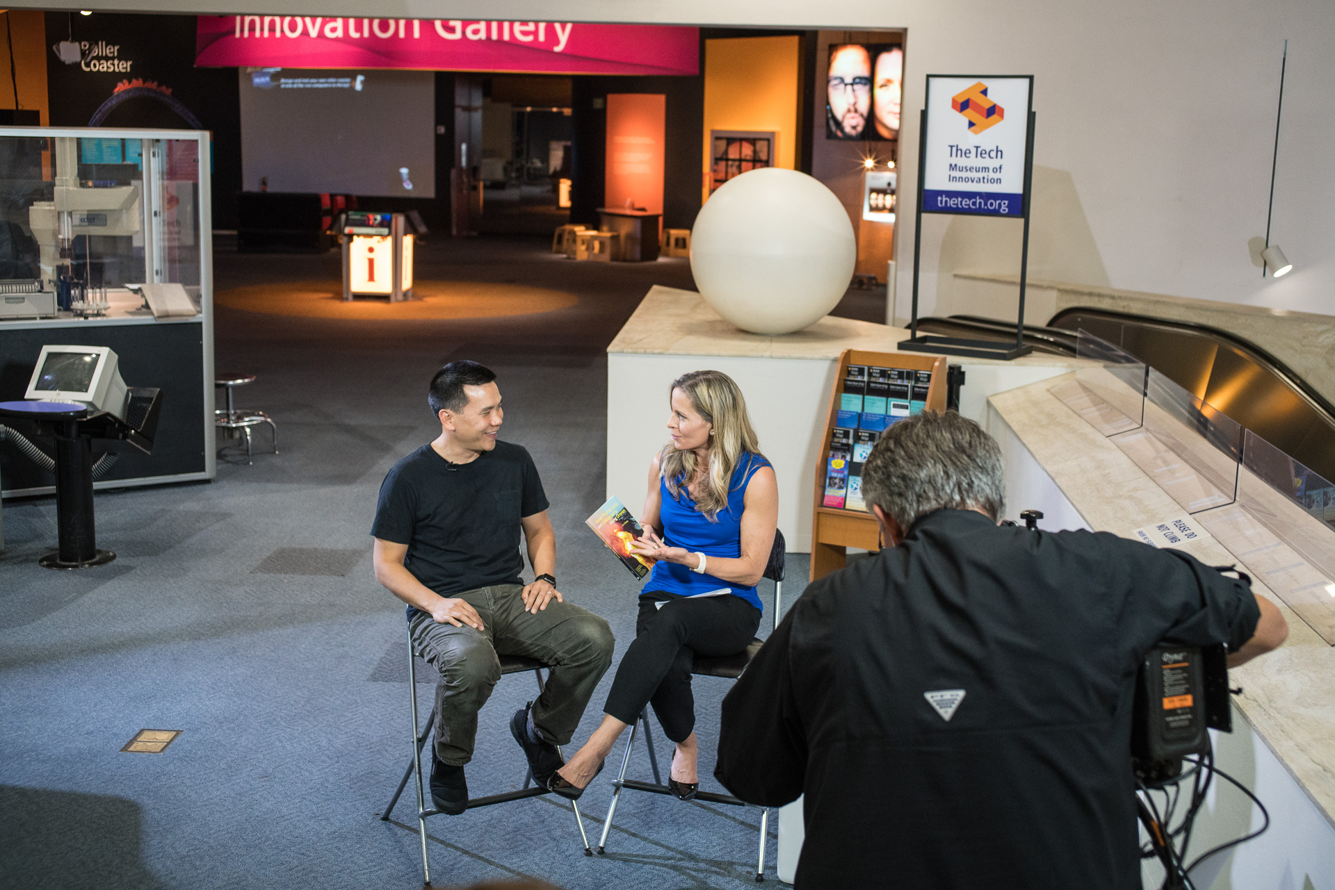 Eric Cheng talks to Becky Worley on Good Morning America's drone hour as part of GMA's 40-year celebration.