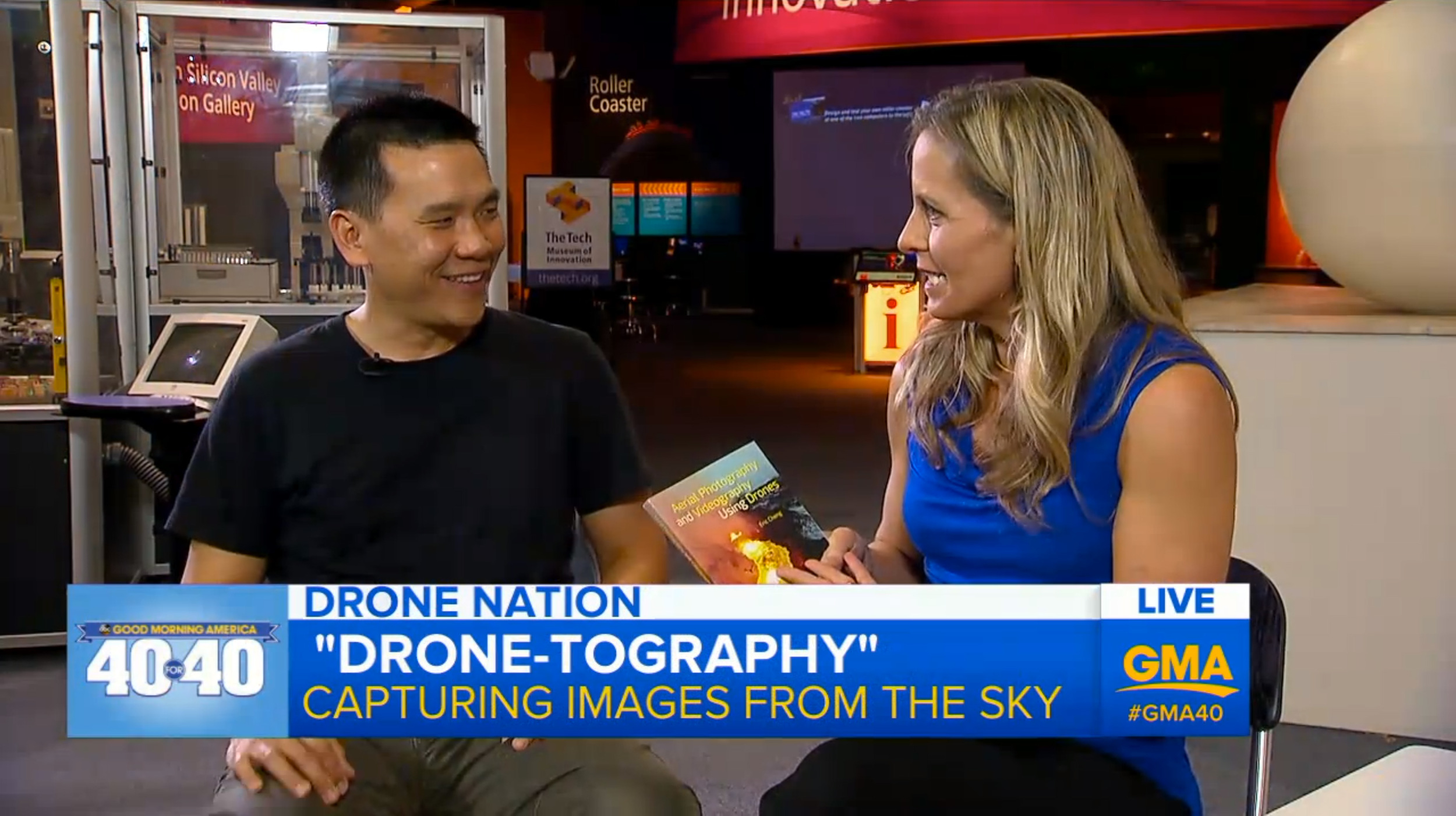 Eric Cheng talks to Becky Worley about his new book,  Aerial Photography and Videography Using Drones , on Good Morning America's drone hour as part of GMA's 40-year celebration.