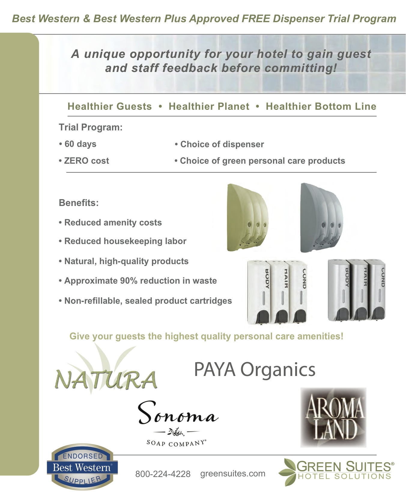 BEFORE: EcoSense Flyer   Original design lacked focus and clarity; supplied by Green Suites Hotel Solutions.