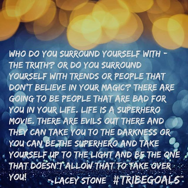 "#Repost @tribe.goals ・・・ ""Who do you surround yourself with, the truth or do you surround yourself with trends or people that don't believe in your magic? There are going to be people that are bad for you in your life. Life is a superhero movie. There are evils out there and they can take you to the darkness or you can be the superhero and take yourself up to the light and be the one that doesn't allow that to take over you!"" - @laceystonefitness @tribe.goals #truth #surround #magic #superhero #movie #light #laceystone #tribegoals #athleisurestudio"