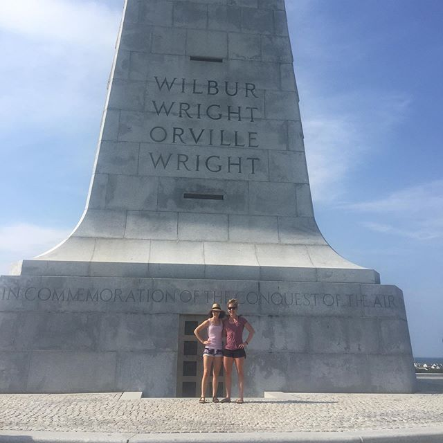 Memorial Day weekend was a joint Wright-Wolfram adventure to the Outer Banks. First stop: paying homage at the Wright Brothers Museum! Swipe right to see how much my Dad looks like Orville (though not as much as Uncle Dave @davidwright0256). Also spoiler alert: this did not cure my fear of flying. #wetried #wrightbrothers #latergram #ancestry #kittyhawk