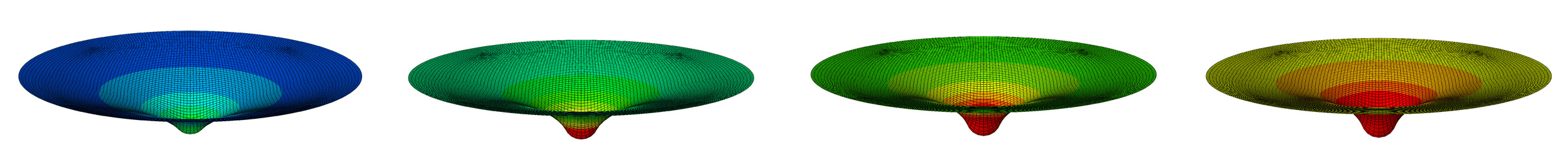 Study of the nonlinear effects of prestrain in a nano-indendation experiment on collagenous biomembranes (left to right: 0,10,20,30% prestrain).
