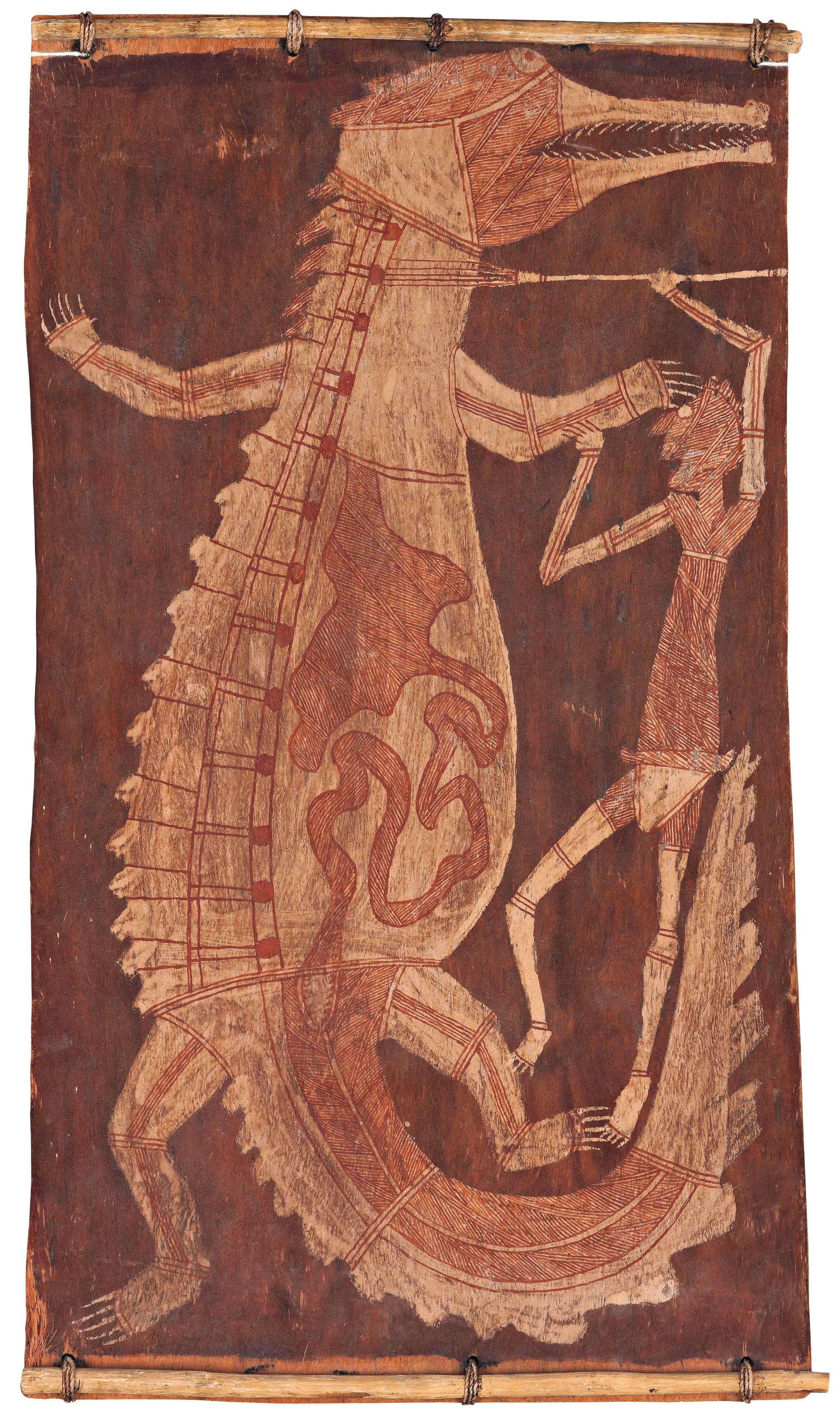DICK NGULEINGULEI,1920–1988  Mimi Killing Crocodile , 1965