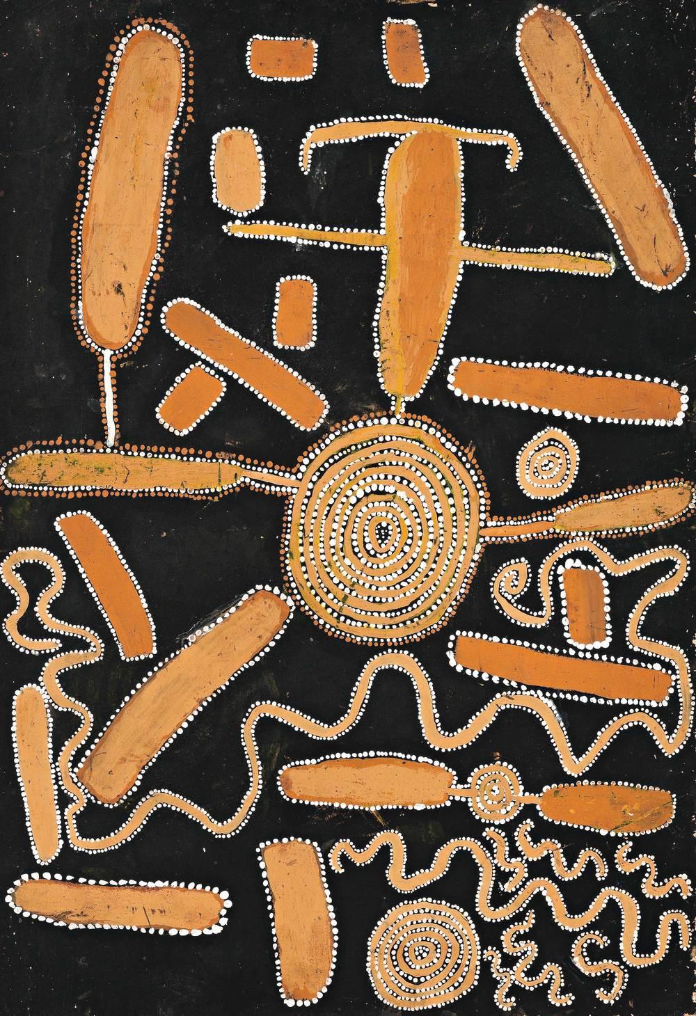 SHORTY LUNGKATA, 1920–1987  Snake Dreaming at Lampintjanya ,1972