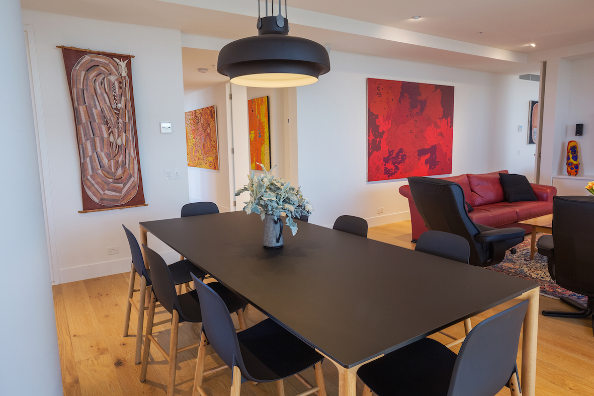 Pictured: The beautifully balanced living room features works by Ivan Namirrkki, Daniel Walbidi and Keith Stevens.