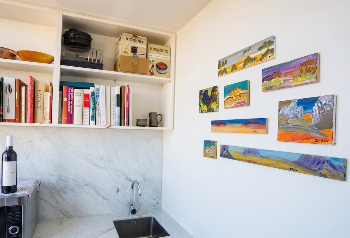 Pictured: The butler's pantry with a sweet installation of miniature works by Billy Benn Perurle.