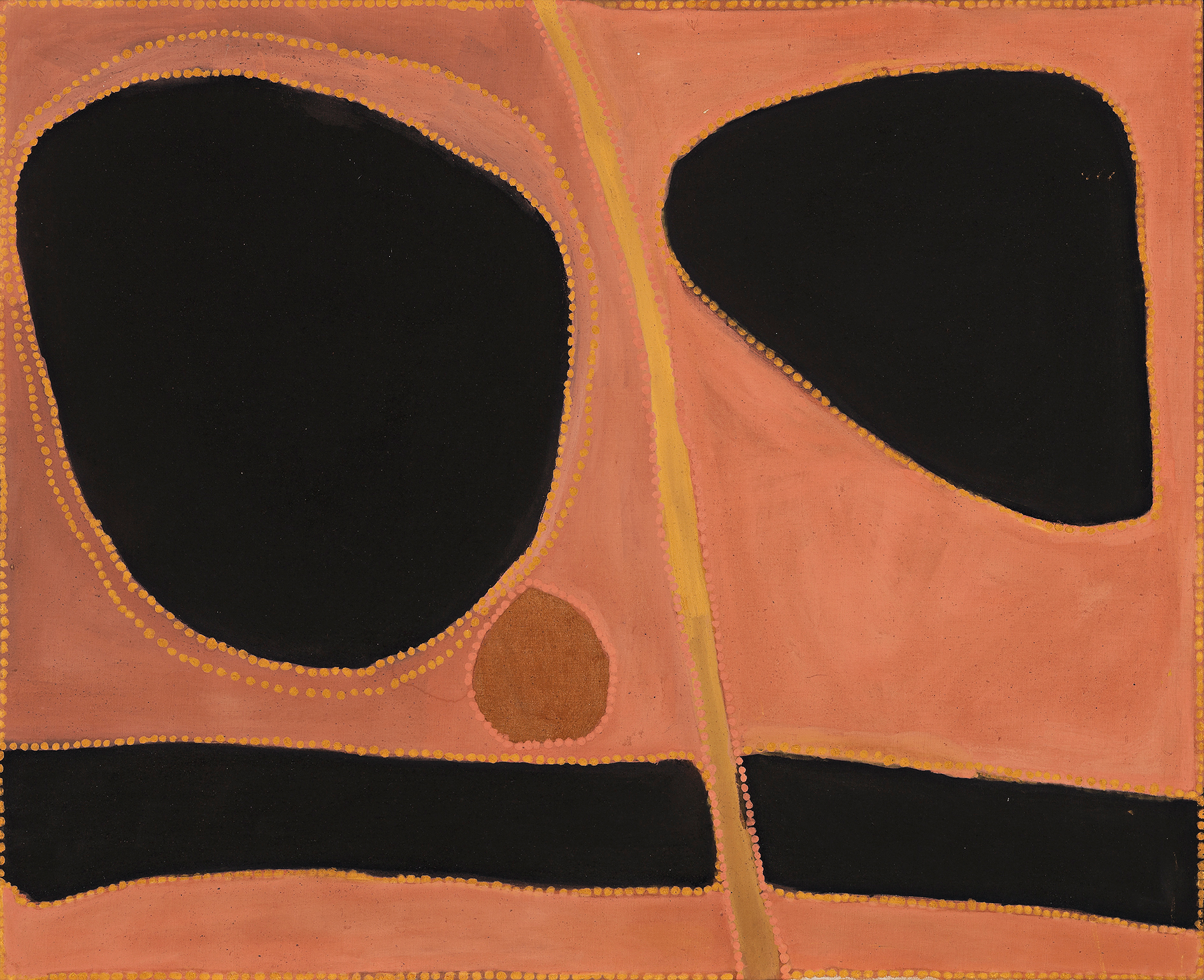 Rover Thomas,  Djugamerri and Bolgumerri  1991 from the Laverty Collection, sold for $317,200 IBP at D+H, April 2017