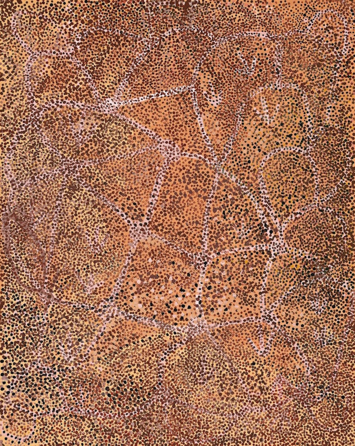 EMILY KAME KNGWARREYE , 1910-1996,  Alhalkere (My Country) , 1990, sold at Deutscher and Hackett for  $146,400 (IBP)