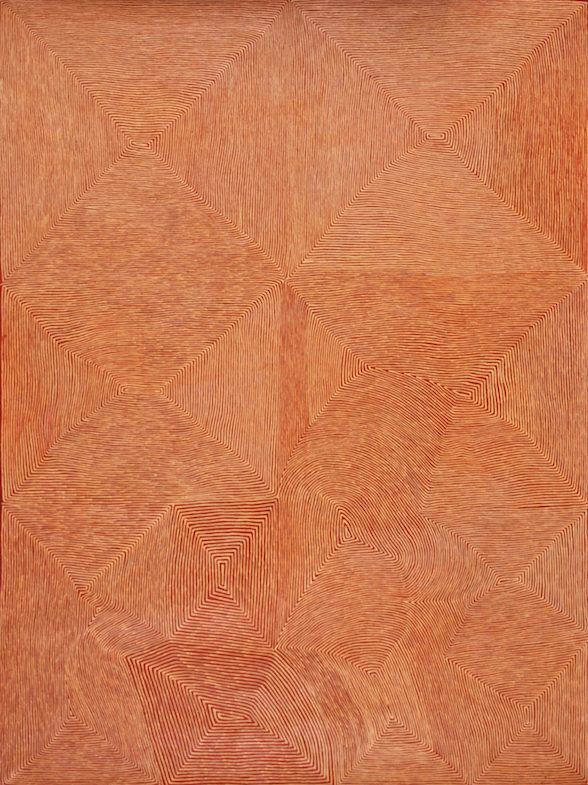 GEORGE TJUNGURRAYI , born circa 1947,  Untitled , 2008, 244 x 183 cm  SOLD BY UTOPIA ART SYDNEY FOR $120,000 AUD