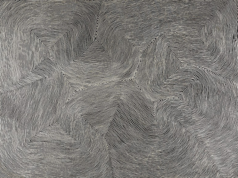 WARLIMPIRRNGA TJAPALTJARRI , born circa 1958,  Mamultjunkunya , 183 x 244 cm,  SOLD BY SOTHEBY'S LONDON FOR $166,153 AUD