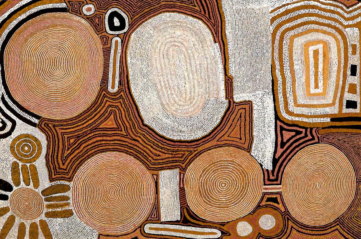 TOMMY LOWRY , circa 1935-1987,  Two Men Dreaming at Kuluntjarranya , 1984, 121.5 x 183 cm