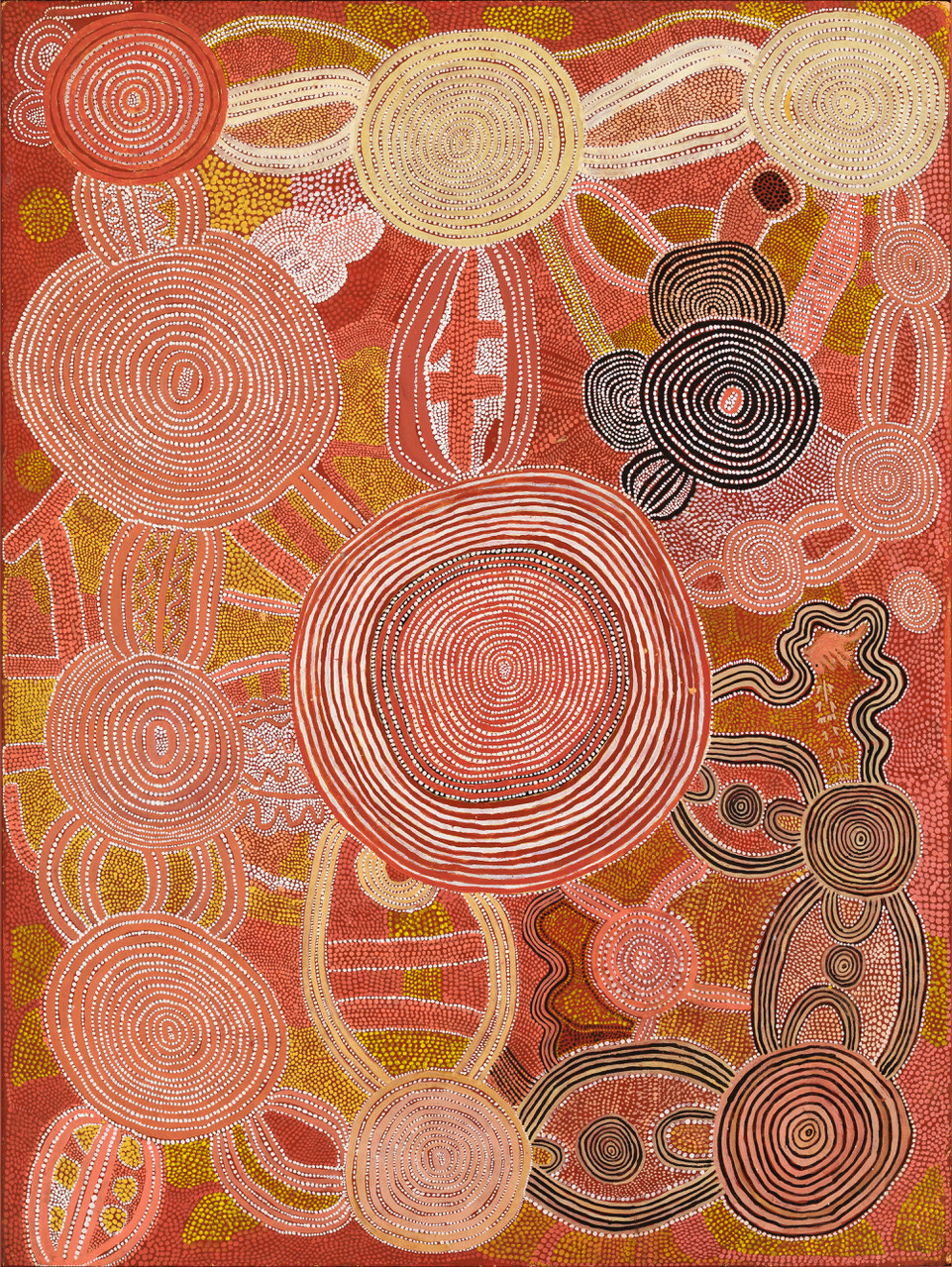 SHORTY LUNGKATA, 1920–1987, 'Two Roads': Tingarri and Kangaroo Dreaming at Tjukulanya,  1973