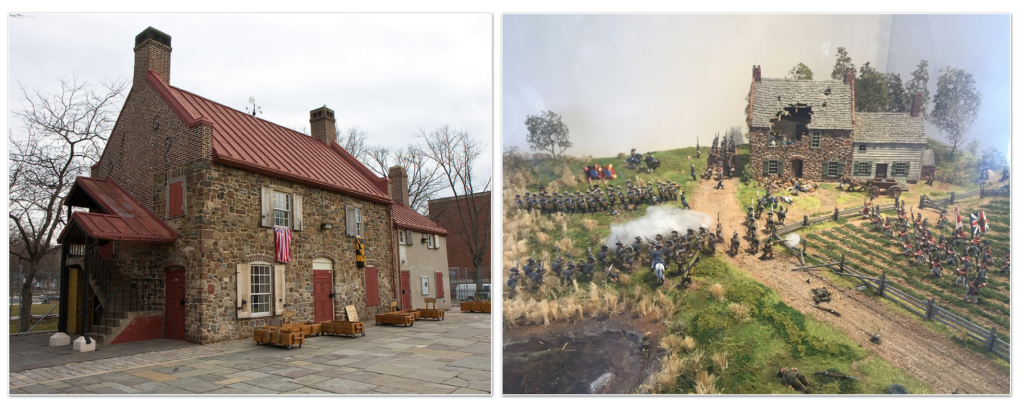 The Old Stone House's building from 1699 in Park Slope, Brooklyn and it's miniature diorama of the the house's famous American Revolution battle.
