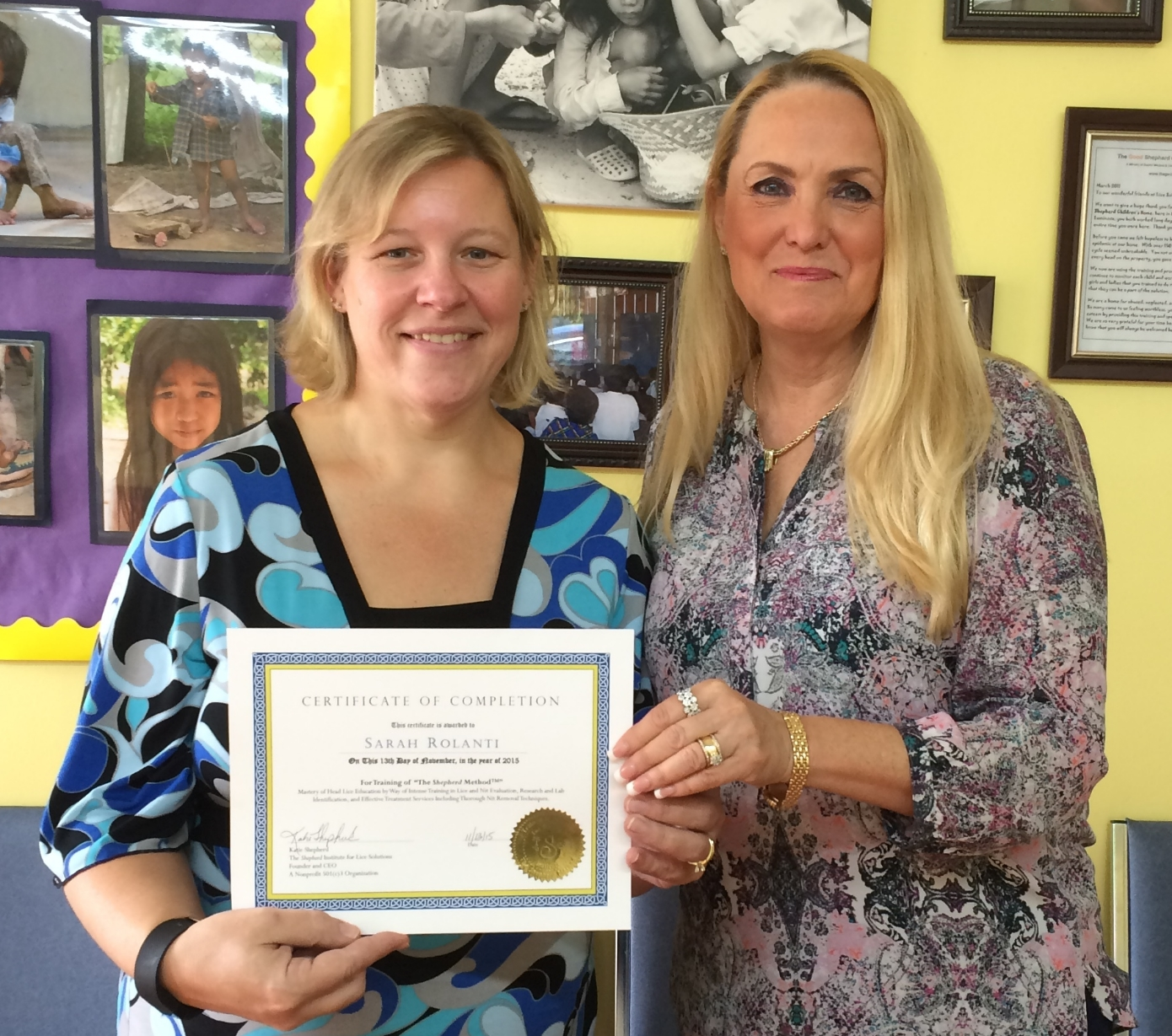 """Sarah presented her certification in """"The Shepherd Method""""by one of the country's leading lice experts, Katie Shepherd."""