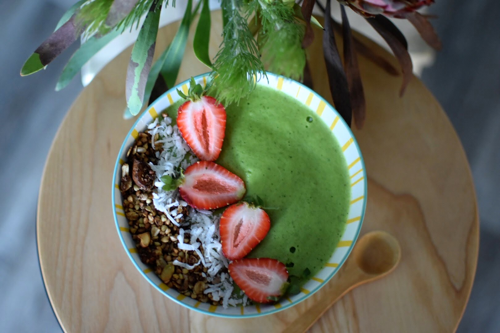Make smoothies more interesting! - This week I made one of my favourite smoothiesinto a smoothie bowl to start my days off with greens. I substituted the protein with salted caramel protein and topped with homemade granola which was delightful!