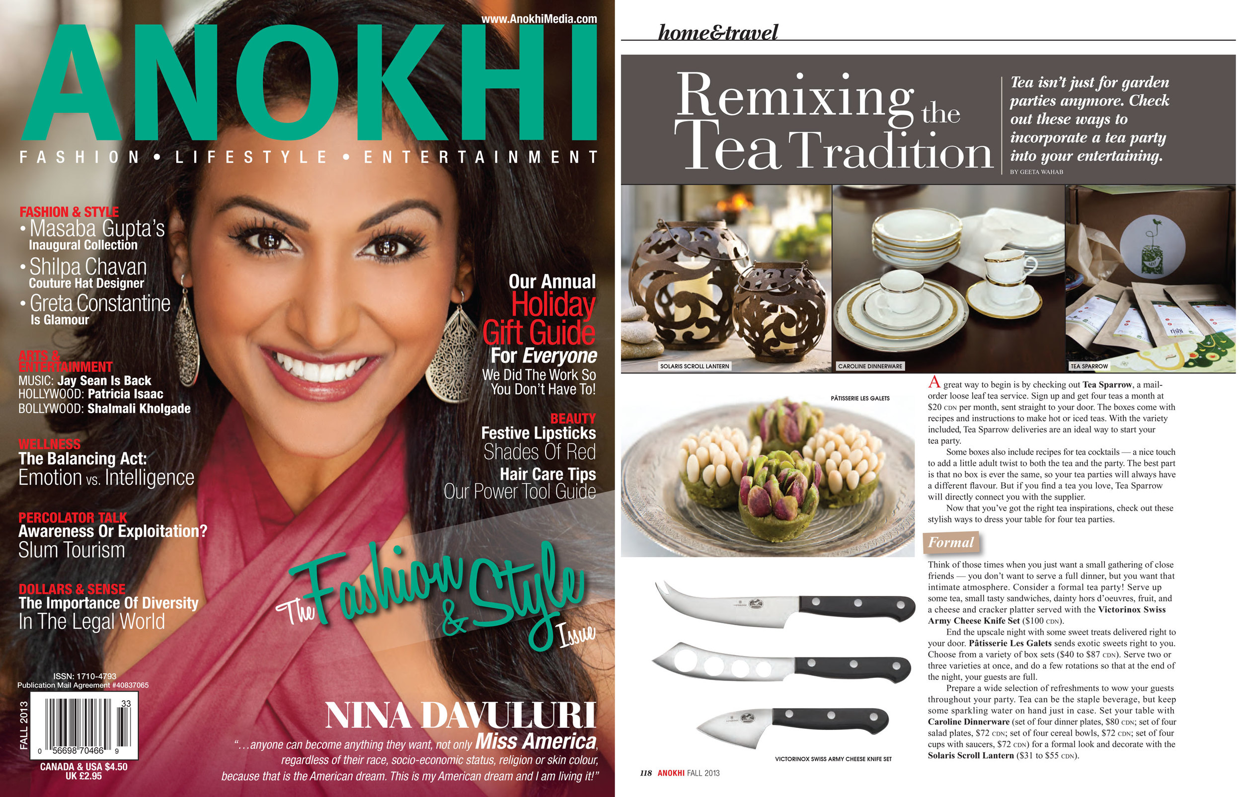 Teasparrow.com feature in Anokhi Magazine.