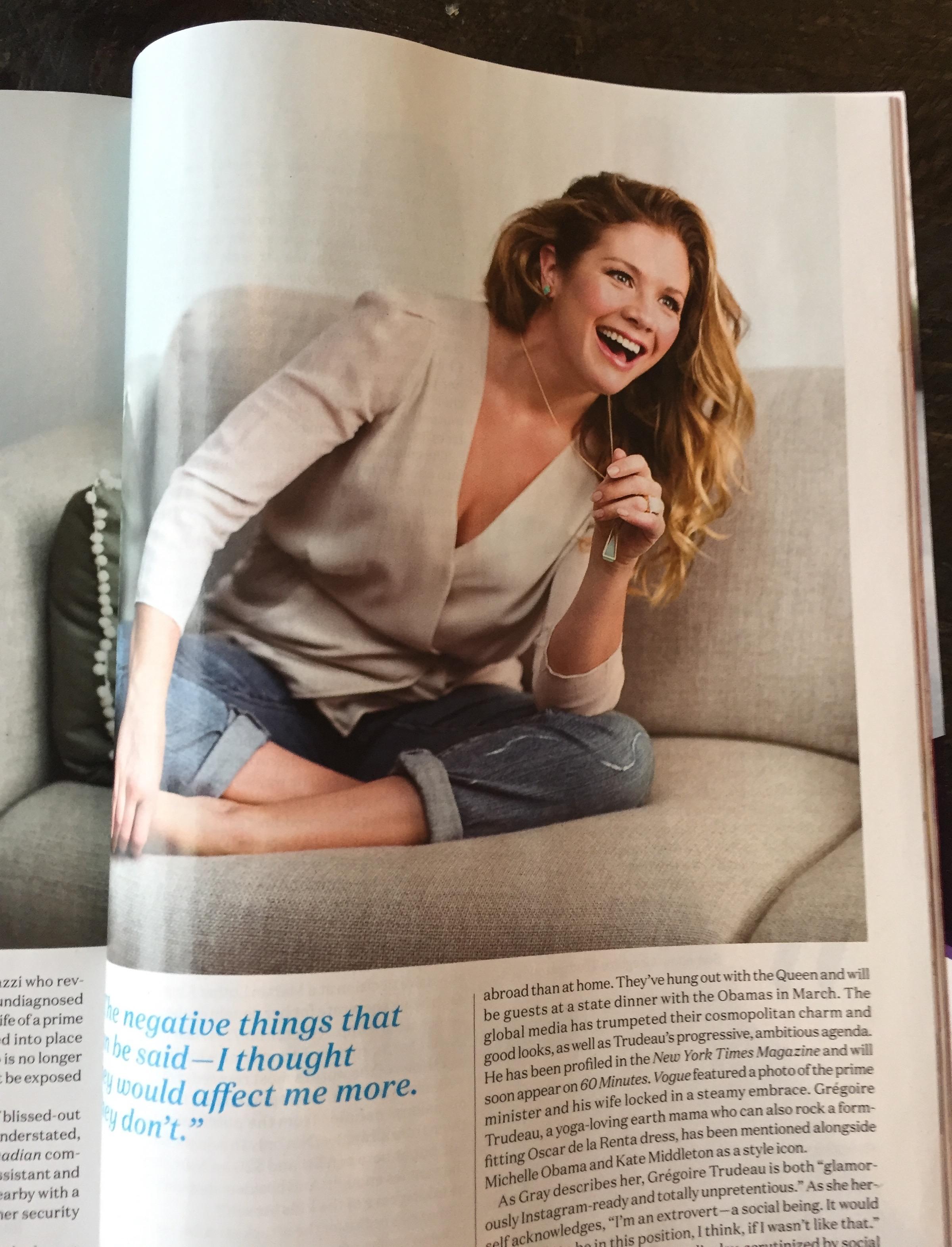 Sophie Trudeau wears Dean Davidson Jewelry in Chatelaine Magazine