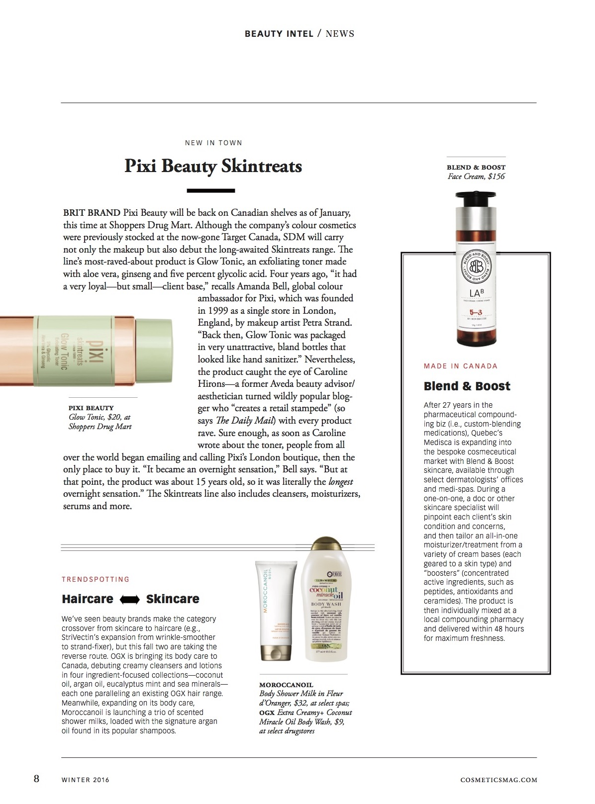 Cosmetics Magazine Feature of skin care line, Blend and Boost.