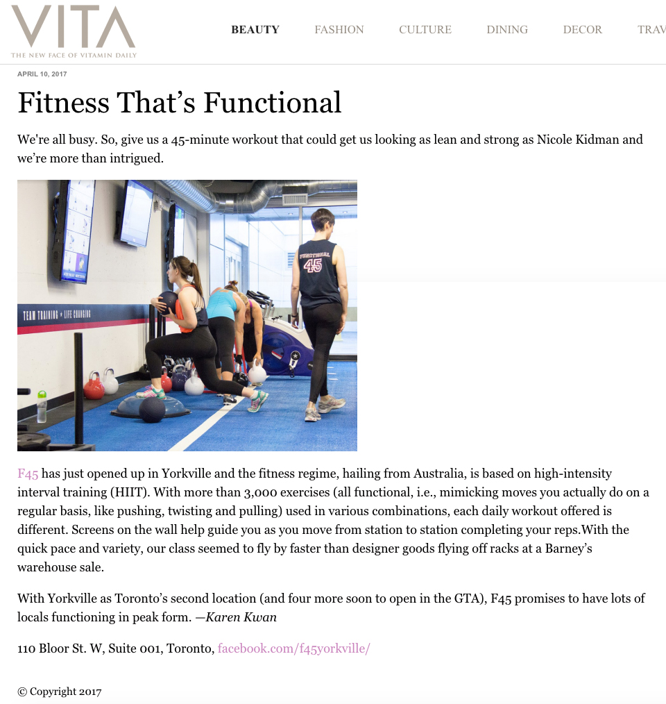 F45 featured on  VITA Daily .