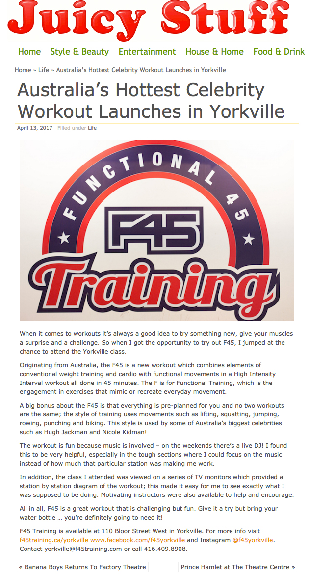 F45 featured on  Juicy Stuff