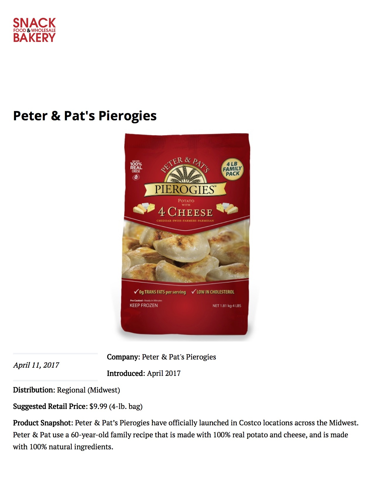 Peter & Pat's Pierogies featured on  Snack & Bakery 1/2