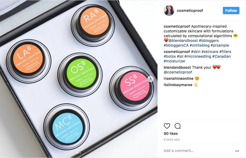 Blend & Boost featured on  Cosmetic Proof Instagram 1/2