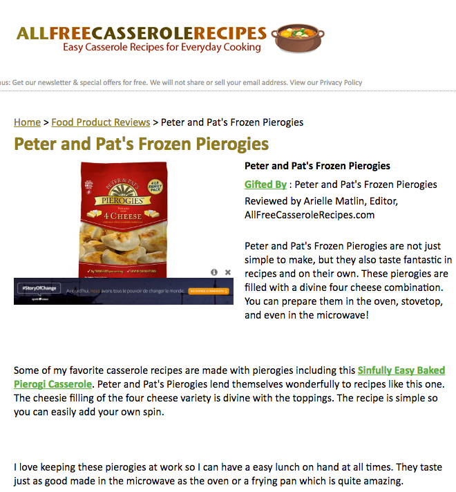 Peter & Pat's Pierogies featured on  AllFreeCasseroleRecipes .
