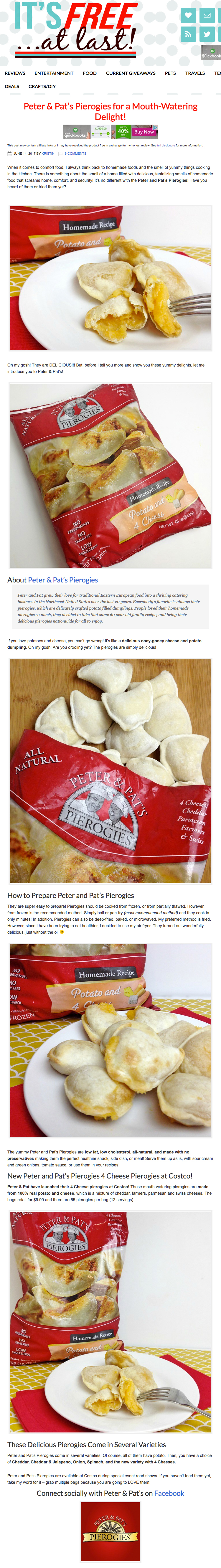 Peter & Pat's Pierogies featured on  It's Free At Last .