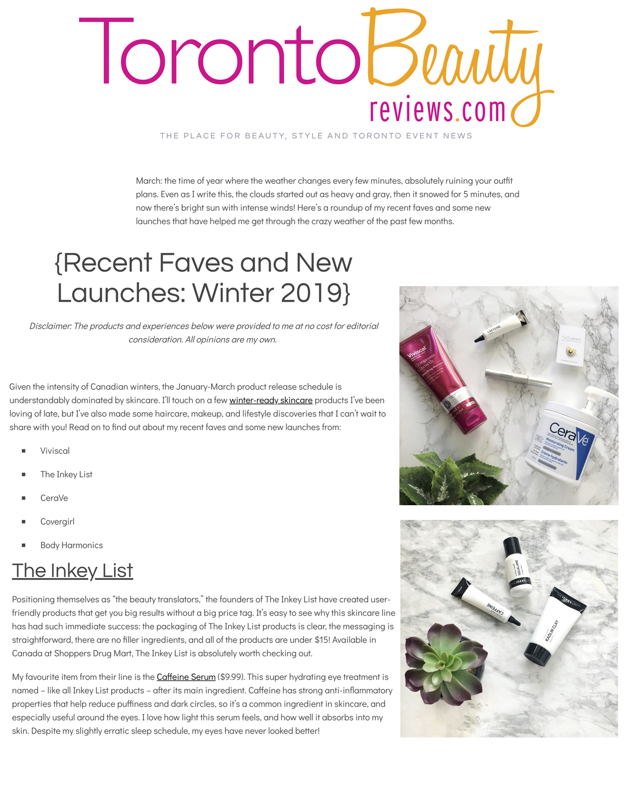 The InKey List featured on  Toronto Beauty Reviews .