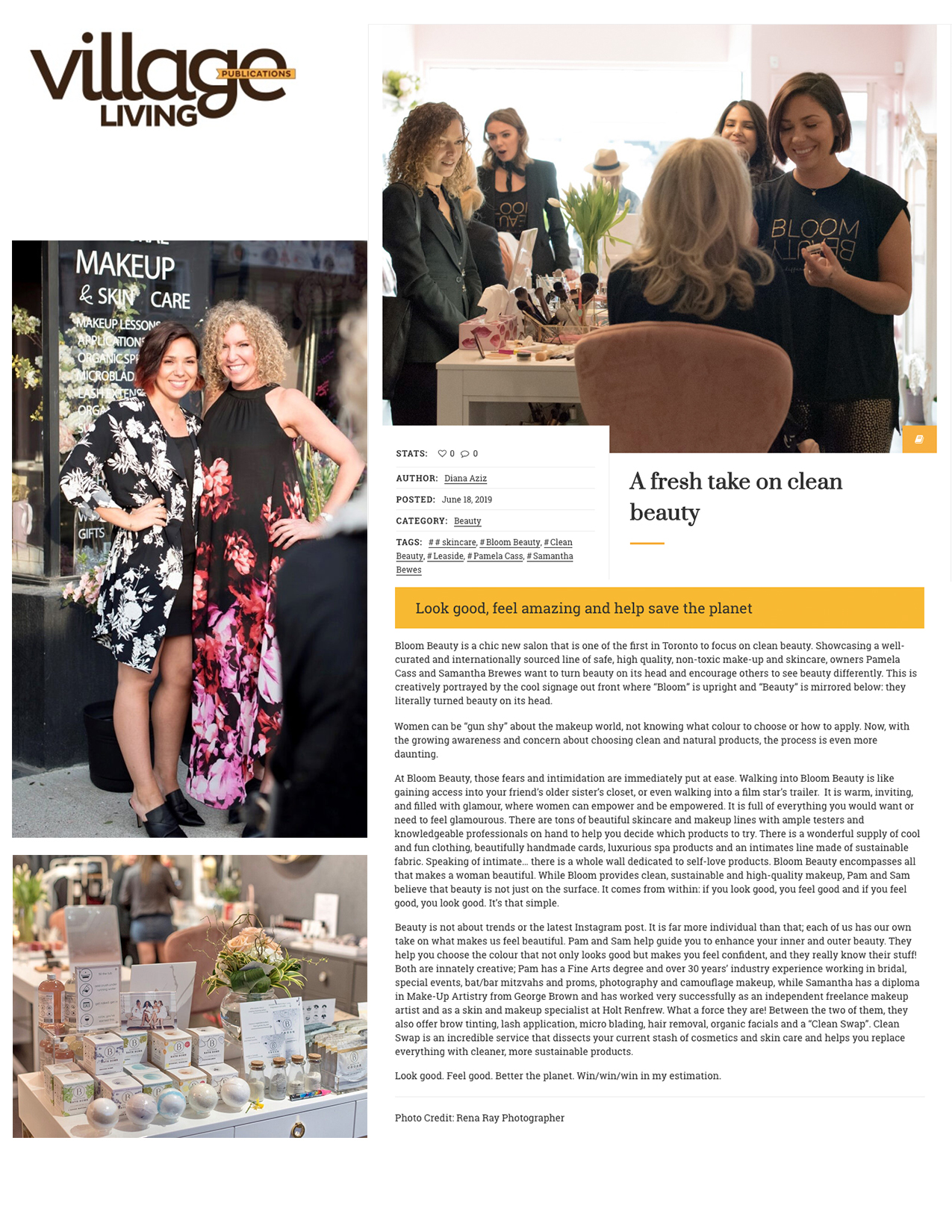 Bloom Beauty featured on  Village Living Magazine