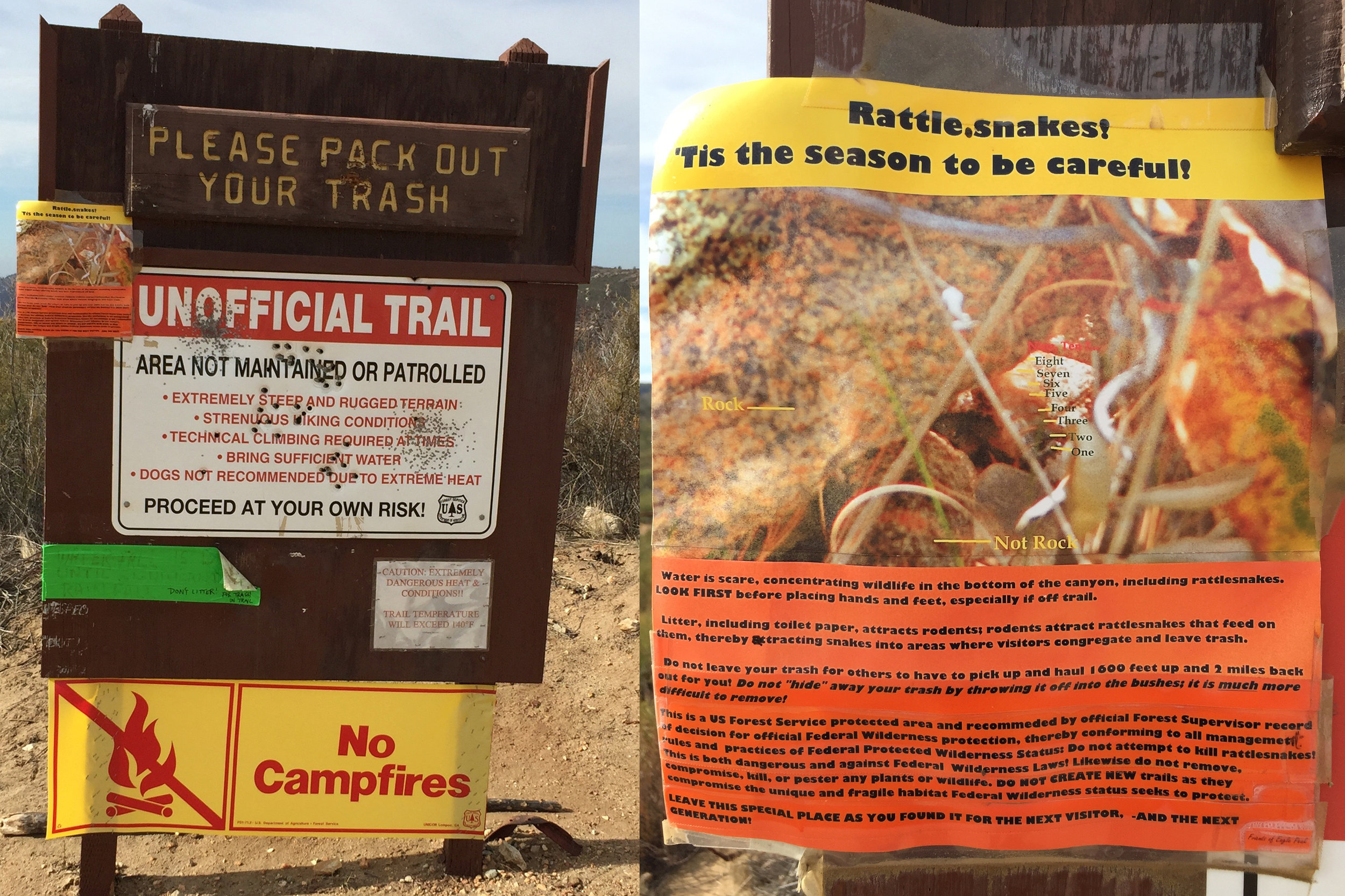 There's a reason why these are posted BEFORE the hike. Next time we'll read them before proceeding.