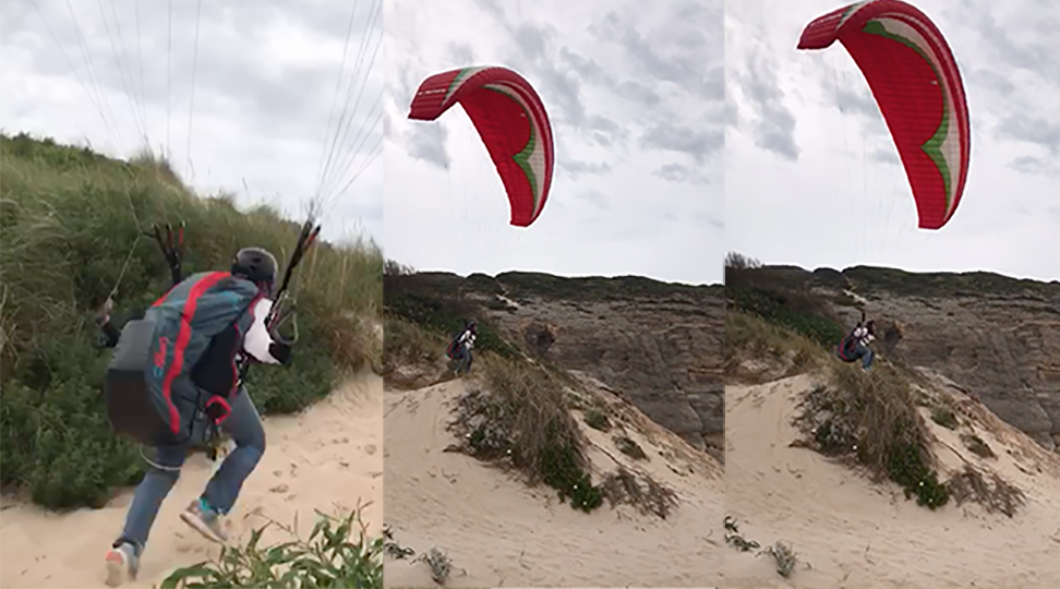 Left: my first attempt at running up a dune and launching (i did make it to the top but it wasn't cute after.) Middle & right: I went lower on the dunes and actually made it this time. though it was all of 5 seconds, it was my first european flight!