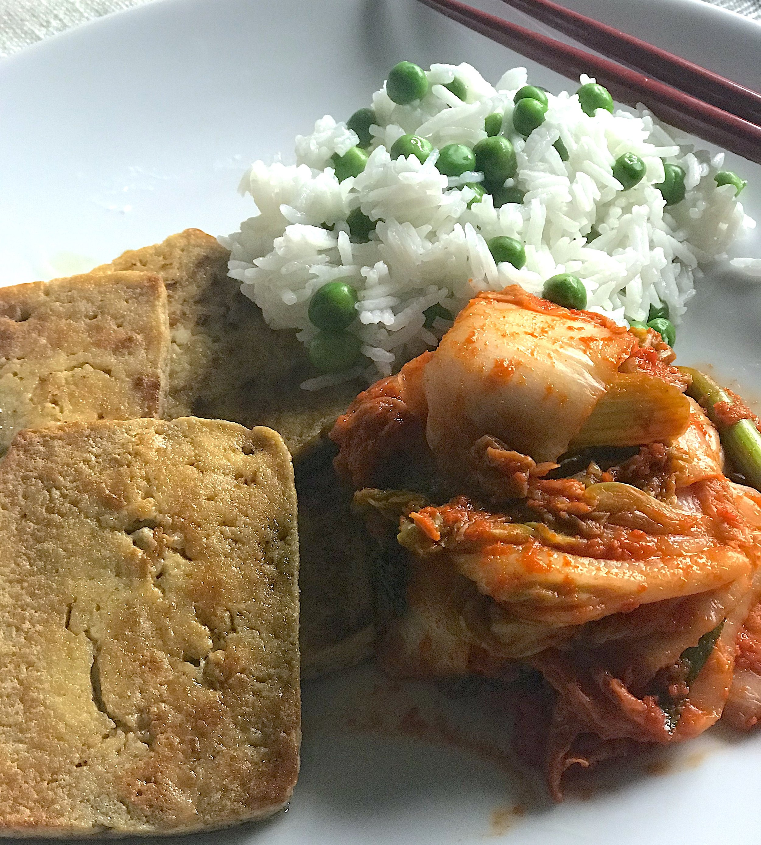 Pan fried tofu, rice with peas, and vegan kimchi. (Yes, that is basmati rice. I know. I know. It's supposed to be short-grained…shhhhhh)