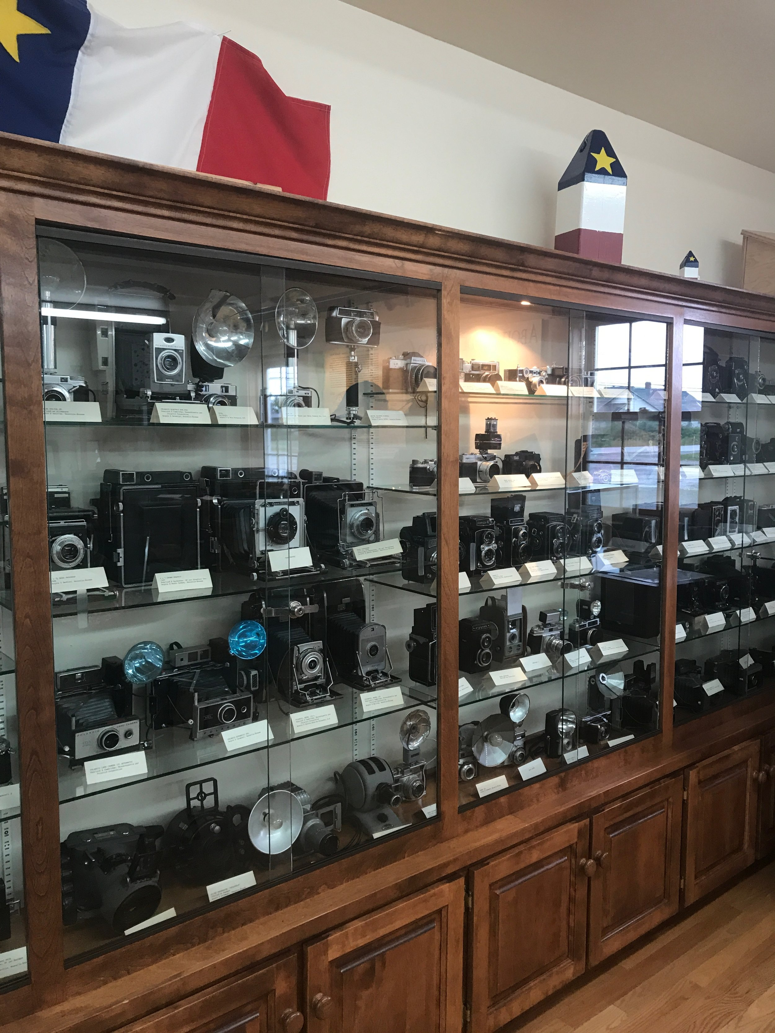 Just a portion of the antique cameras on display at the the Musee Des Acadiens Des Pubnico