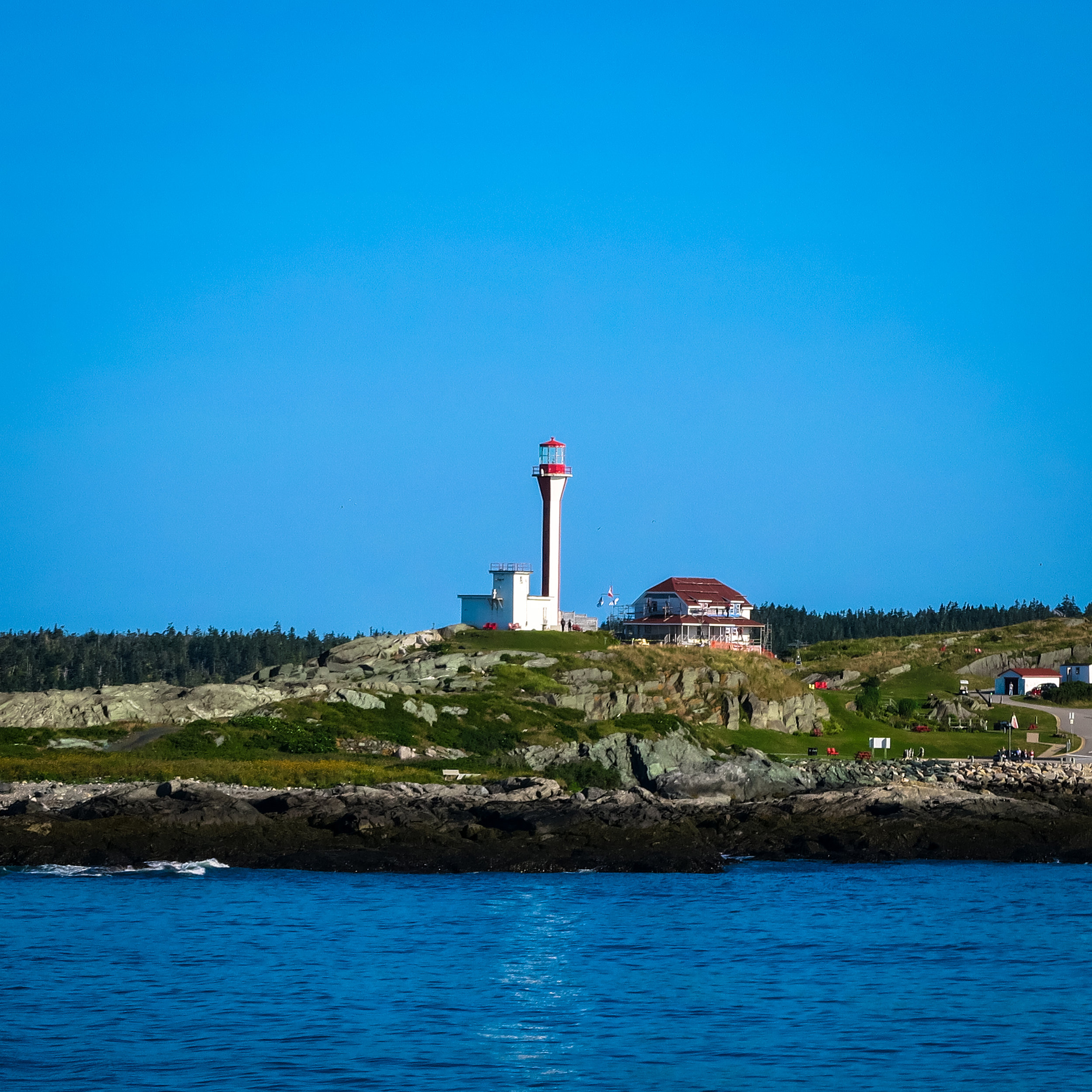 The Cape Forchu Lightstation, as seen from the CAT Ferry.