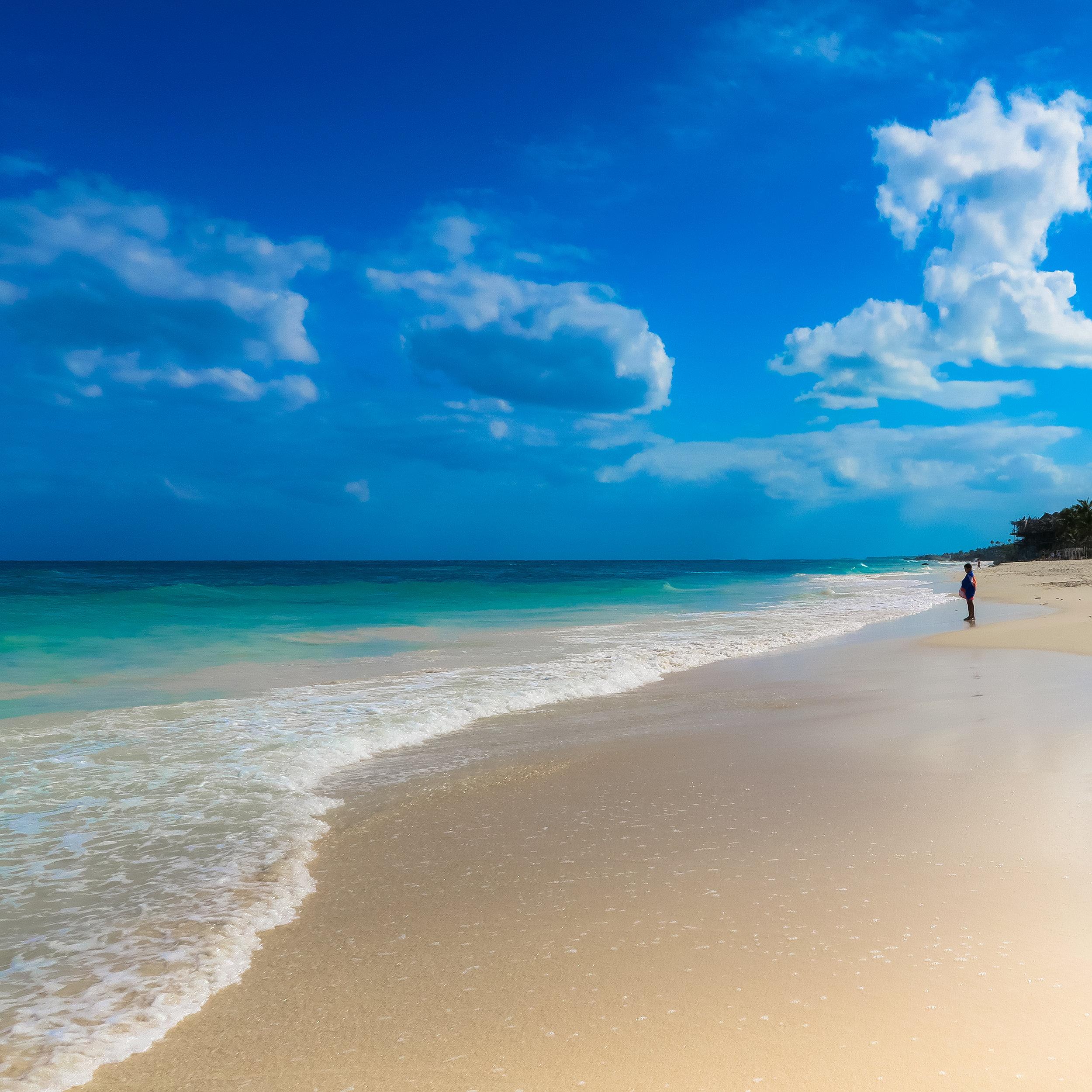 The gorgeous beach in Tulum