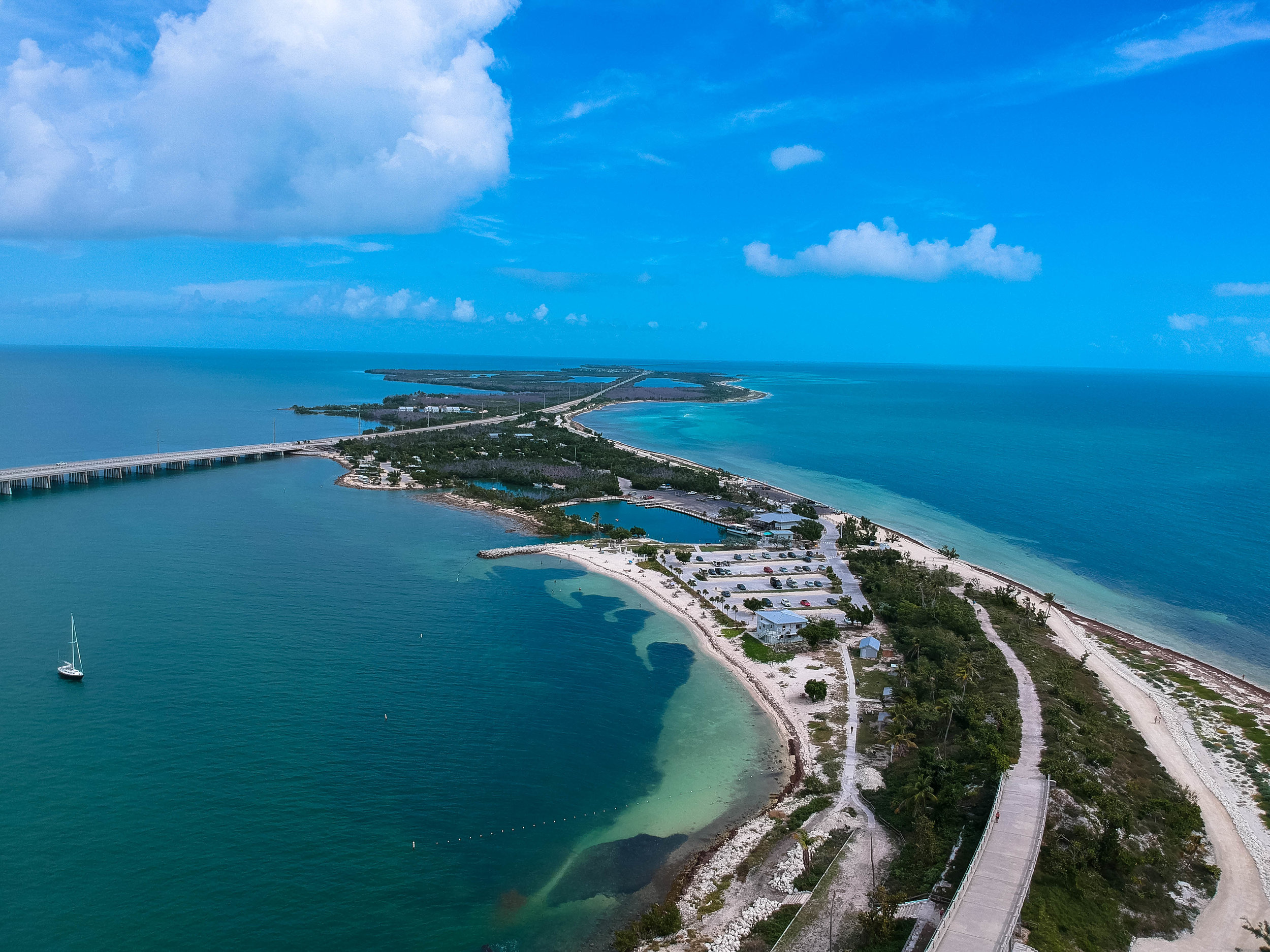 The Floriday Keys from above, as seen from Bahia Honda State Park.