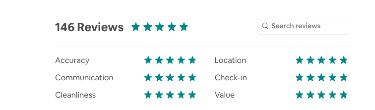 We try to find properties with lots of five star reviews.