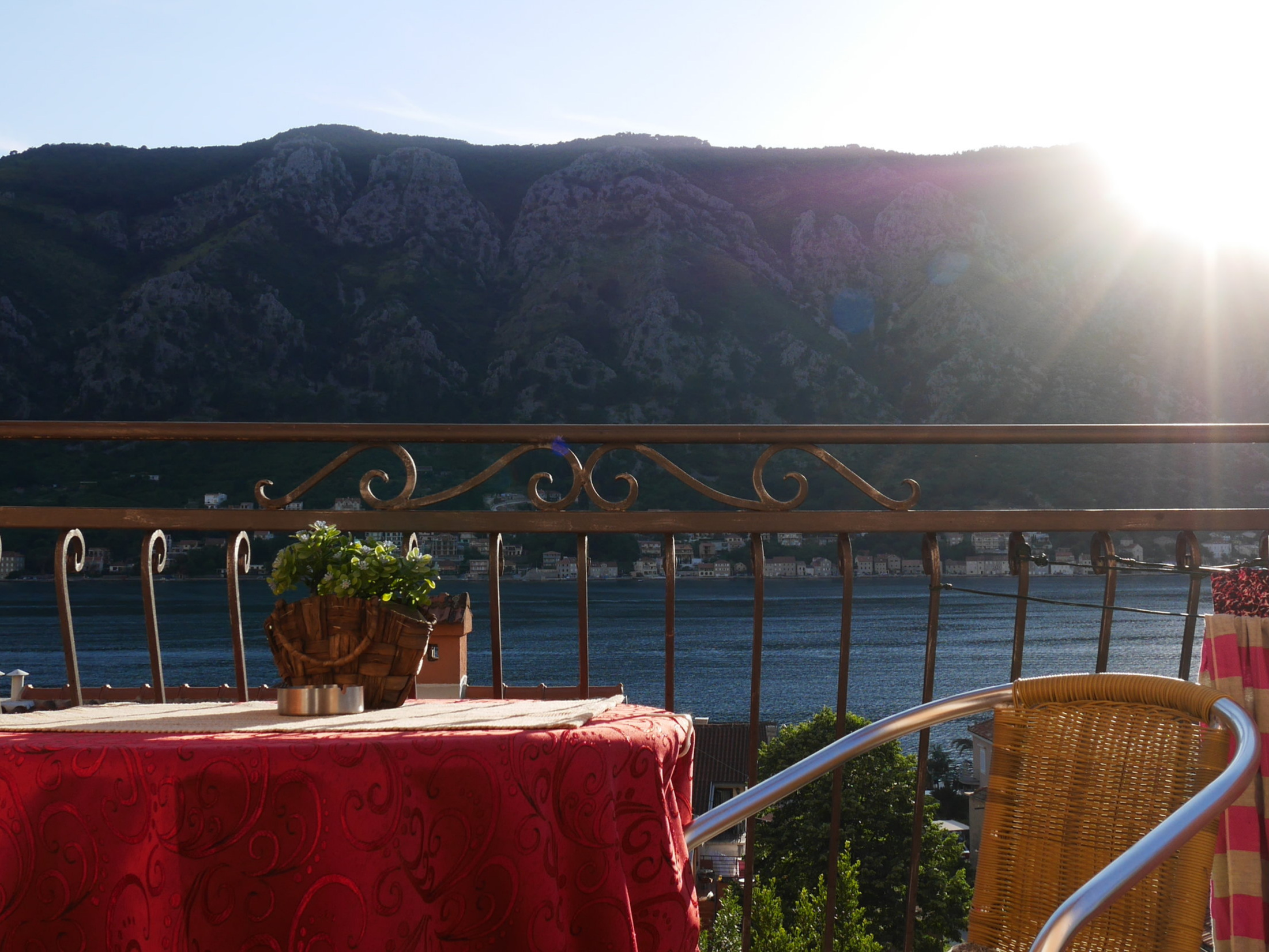 Amazing views of the Bay of Kotor from our private balcony.