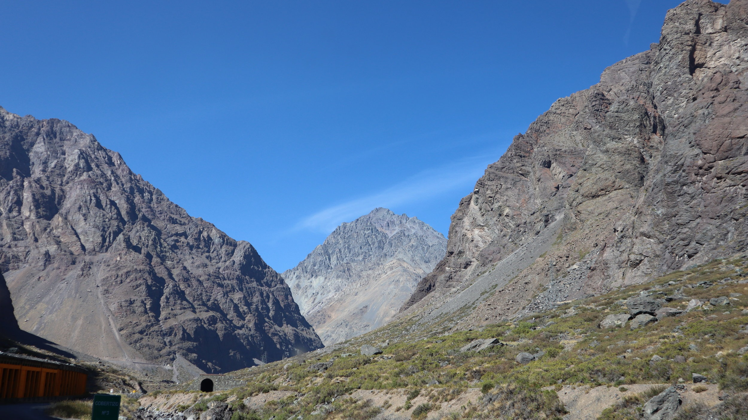 Somewhere in the Andes Mountains between Santiago and Mendoza.