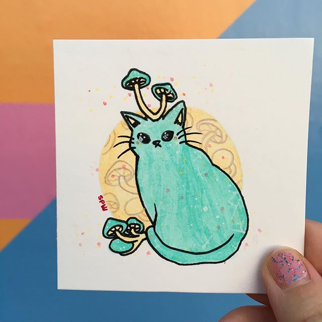🍄Glowing mushroom cat.  #inktober #mushroom #cat #posca #inktober2018