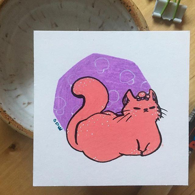🍄 Button mushroom cat.  #inktober #posca #cat #mushroom #inktober2018