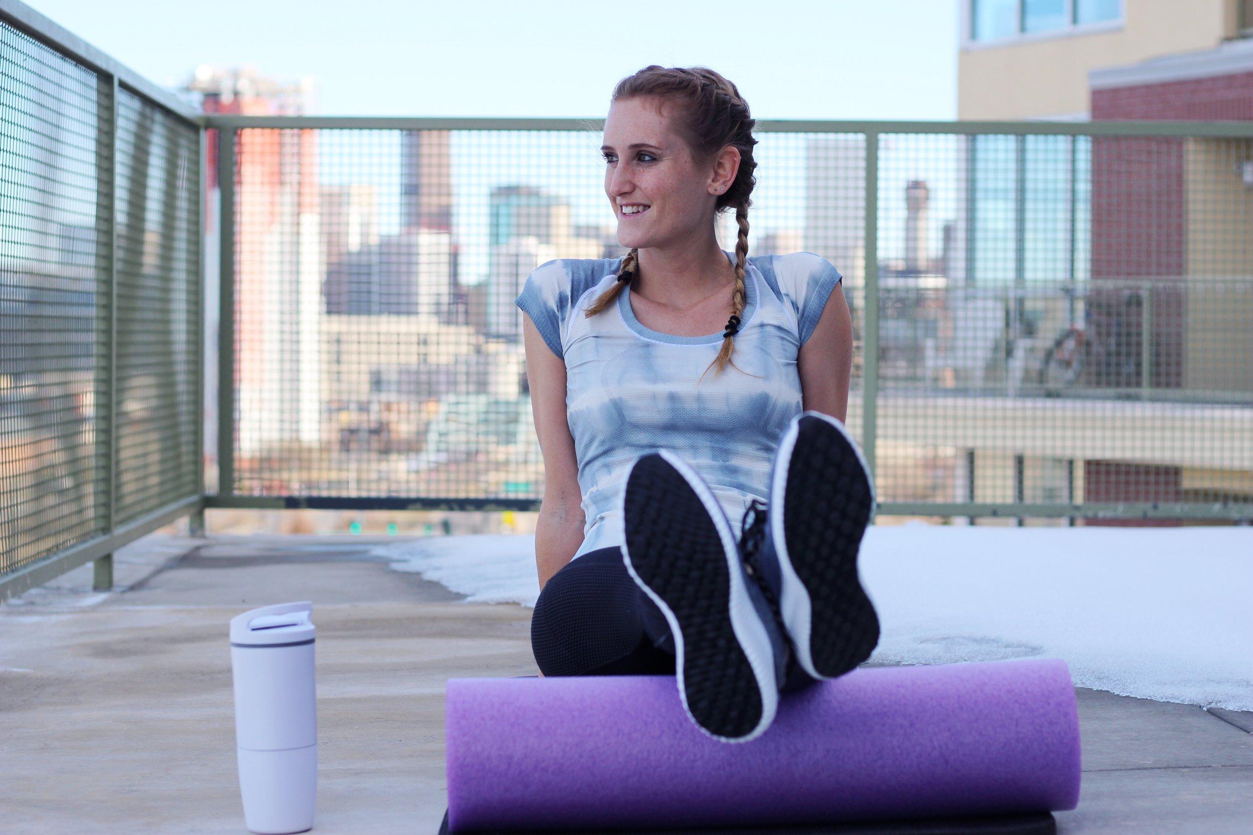 Water tracking bottle,  Ozmo cup | Shirt,  Lululemon  (similar) | Leggings,  Athleta | Shoes,  Adidas  |