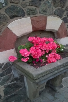 How many types of stone can you see at this old fountain?